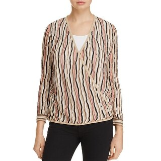 Nic+Zoe Womens Cardigan Sweater Striped Open Front