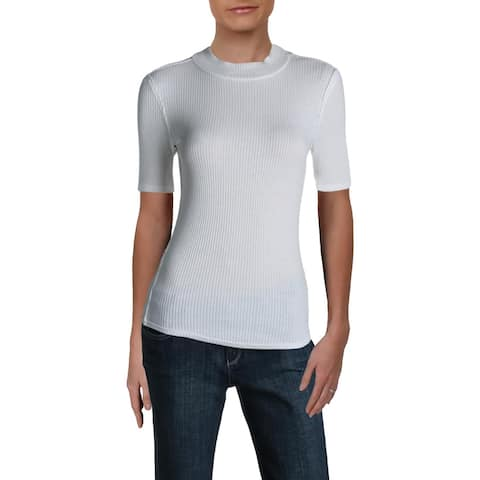 We The Free Womens Pullover Top Ribbed Mock Neck - Ivory
