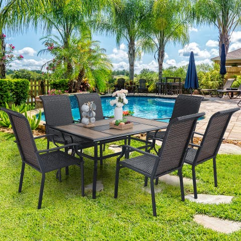 Sophia & William Outdoor Patio 7-Piece Dining Set, 1 Metal Table with an Umbrella Hole and 6 PE Rattan Chairs