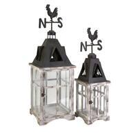 Set of 2 Distressed Country Rustic Weather Vane Cupola Pillar Candle Lanterns - White