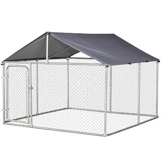 Link to PawHut Galvanized Steel 7.5-foot Outdoor Locking Dog Kennel Similar Items in Dog Containment