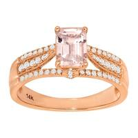 1 1/10 ct Natural Morganite & 1/5 ct Diamond Ring in 14K Rose Gold