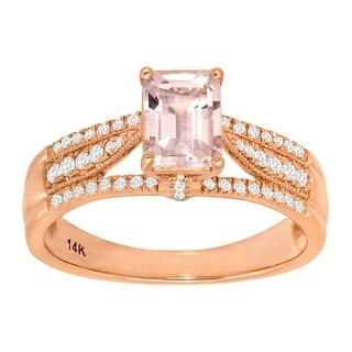 1 1/10 ct Natural Morganite & 1/5 ct Diamond Ring in 14K Rose Gold - Pink