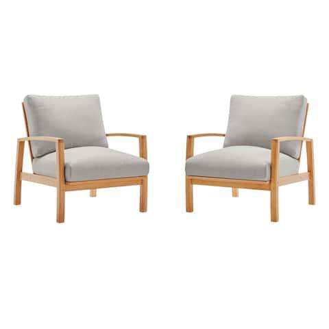 Orlean Outdoor Patio Eucalyptus Wood Lounge Armchair Set of 2