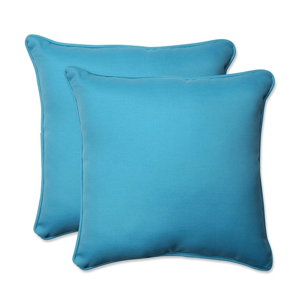 Set of 2 Blue Turquoise UV/Fade Resistant Outdoor Patio Square Throw Pillow 18.5""