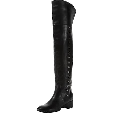 Charles David Womens Military Over-The-Knee Boots Leather Tall - Black Leather - 37 Medium (B,M)