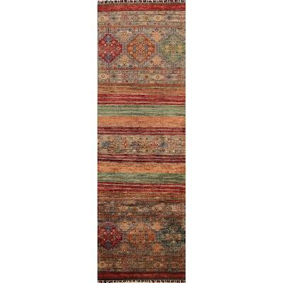 "Geometric Kazak Oriental Runner Rug Wool Handmade Staircase Carpet - 2'6"" x 7'11"""