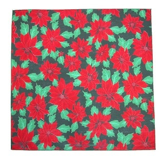 CTM® Christmas Poinsettia Print Holiday Bandana - Black - One Size