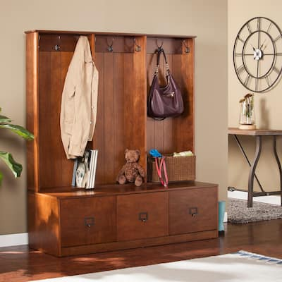 Parton Wood Entryway Hall Tree and Bench