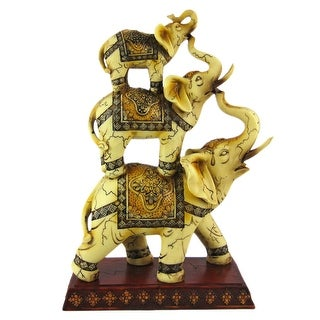 Wonderful Antiqued Stacked Elephant Trio Statue - 12 X 7.5 X 3.75 inches