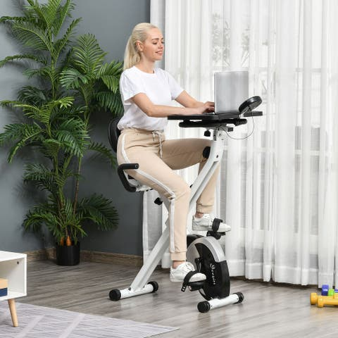 Soozier Indoor Magnetic Exercise Bike 8-Level Adjustable Magnetic Resistance Cardio Trainer Seat Height Adjustable,White