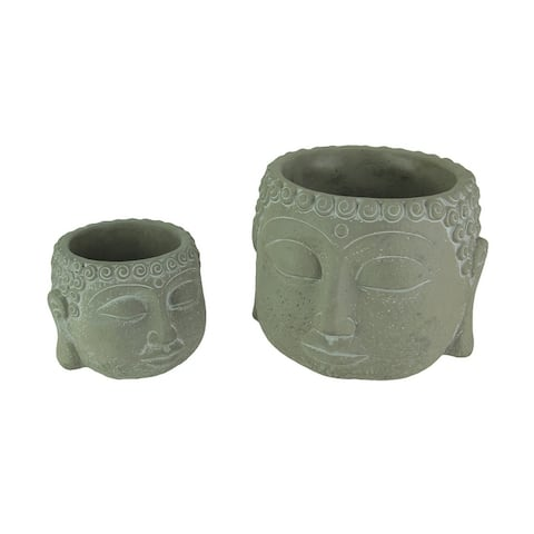Set of 2 Natural Gray Concrete Buddha Head Planters - 6.5 X 8.5 X 8.5 inches