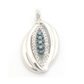Beautiful 0.29ct Round Brilliant Cut Blue Color Diamond and Natural Diamond Designer Pendant