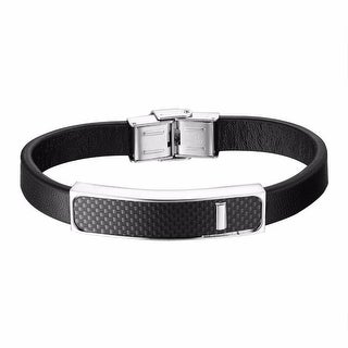 Leather Band Bracelet Carbon Fiber Stainless Steel Mens Unique