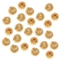 22K Gold Plated Fluted Round Metal Beads 6mm (50) - Thumbnail 0