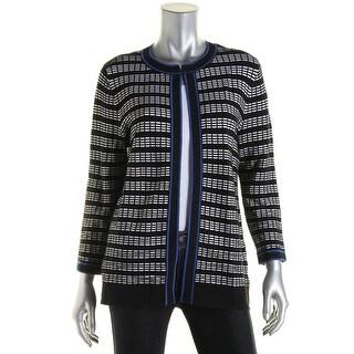 Kasper Womens Open Front Contrast Trim Cardigan Sweater - L