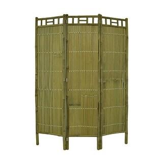 Decorative Three Panel Folding Bamboo Privacy Screen Divider 63 X 47 Inch