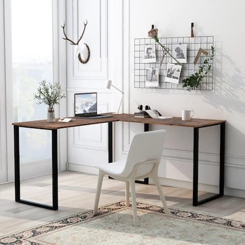 AOOLIVE Executive Workstation L-shape Cornor Computer Desk, Oak Tiger