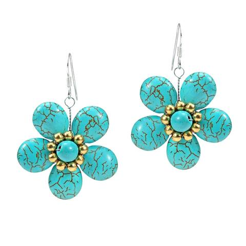 Handmade Statement Teal Bloom Turquoise Flower Brass .925 Silver Earrings (Thailand) - Plain turquoise