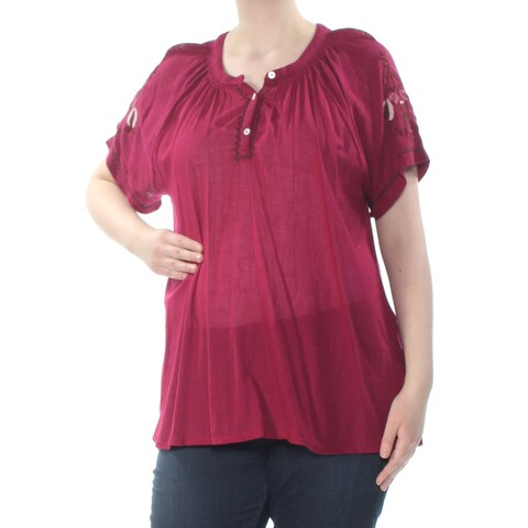 LUCKY BRAND Womens Burgundy Embroidered Buttoned Heather Floral Short Sleeve Scoop Neck Peasant Top Plus Size: 1X