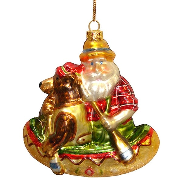 Santa Claus & Brown Bear Canoeing Glass Christmas Ornament #823041 A