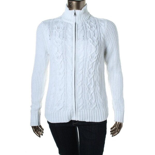 LRL Lauren Jeans Co. Womens Full Zip Sweater Cable Knit Mock Neck