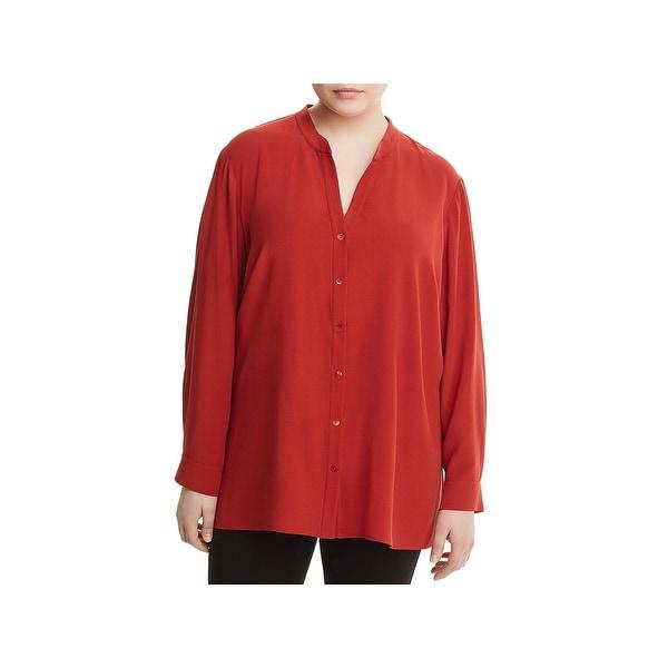 Eileen Fisher Womens Plus Blouse Silk Stand Collar