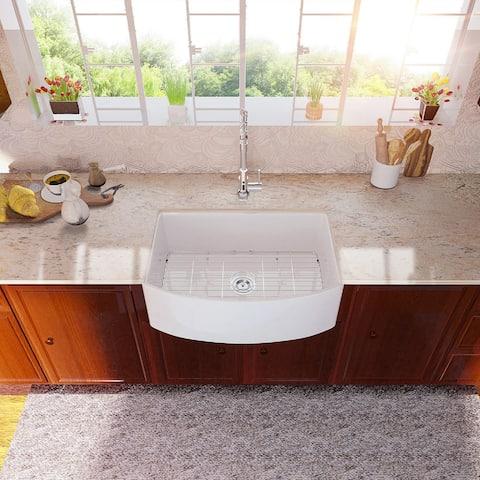 White Farmhouse Apron Front Kicthen Sink