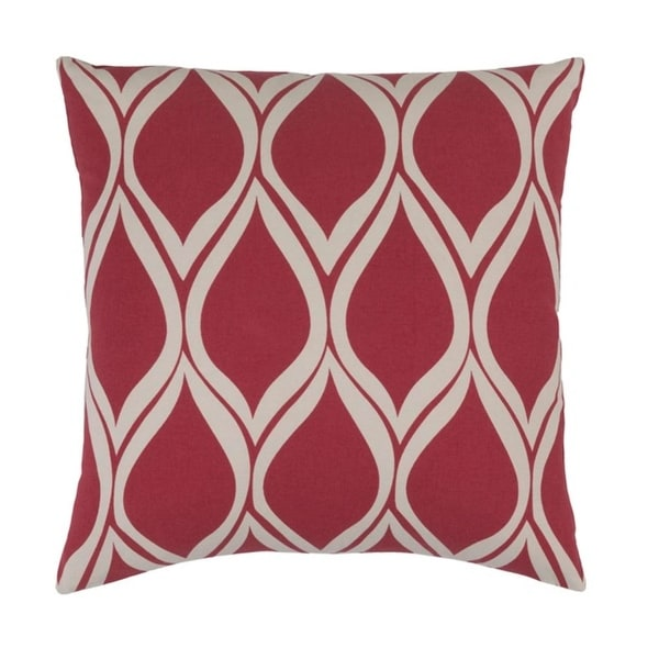 "22"" Leaf Dropper Rose Red and Cool Gray Woven Decorative Throw Pillow - Down Filler"