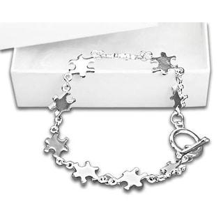 Autism Silver Linked Puzzle Bracelet