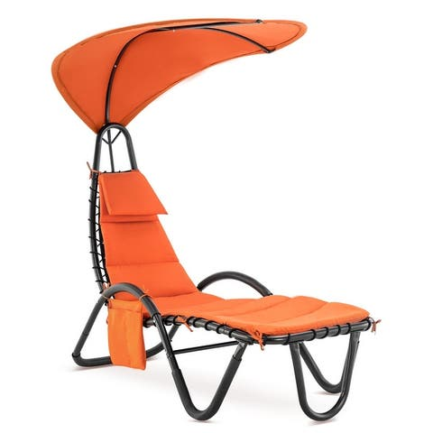 Mcombo Outdoor Chaise Lounge Chair, Adjustable Canopy and Cushioned Reclining Chair, Sun Lounger, w/Stand and Side Pocket, 4097