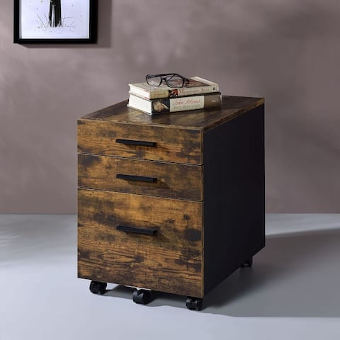 Art Leon Rectangular Weathered Oak Wood File Cabinet with Caster