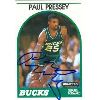 Paul Pressey Autographed Basketball Card Milwaukee Bucks 1989 Hoop