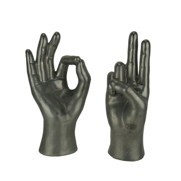 Silver Ceramic Peace Sign and OK Hand Gesture Table Sculpture 2 Piece Set - 9.5 X 5 X 4 inches