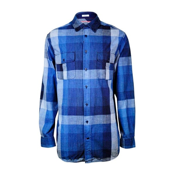 30788495c2 Shop Tommy Hilfiger Men's Chambray Plaid Pocket Shirt - Medium Wash - L - Free  Shipping On Orders Over $45 - Overstock - 15018964
