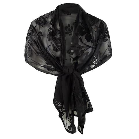 INC International Concepts Womens Contrast Floral Burnout Wrap (OS, Black) - OS