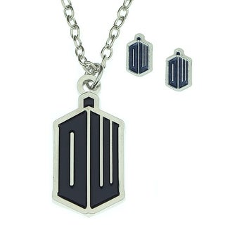 Doctor Who EXCLUSIVE DW Tardis Logo Pendant Necklace and Earring Set - Silver