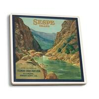 Sespe Orange - Vintage Label (Set of 4 Ceramic Coasters)