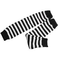Unique Bargains Black White Stylish One Pair Fingerless Thumb Hole Arm Warmer Gloves for Mens
