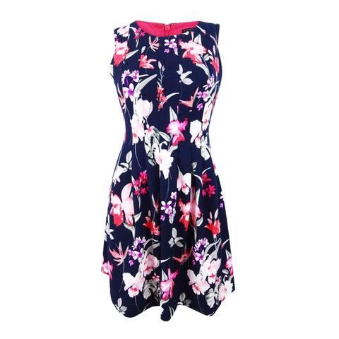 27071c24ae Jessica Howard Women s Petite Pleated Floral-Print Dress - Navy Multi