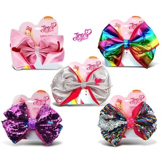 "Jojo Siwa Silver Metallic, Rainbow Metallic, Pink Glitter, Purple Sequin & Rainbow Sequin Ponytail Bows 7""x5"" (5 Items)"