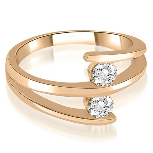 0.50 cttw. 14K Rose Gold Two Stone Tension Split Shank Diamond Wedding Ring