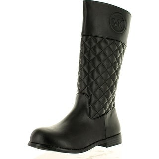 Michael Kors Girls Emma Vera Tall Quilted Designer Riding Boots - Black