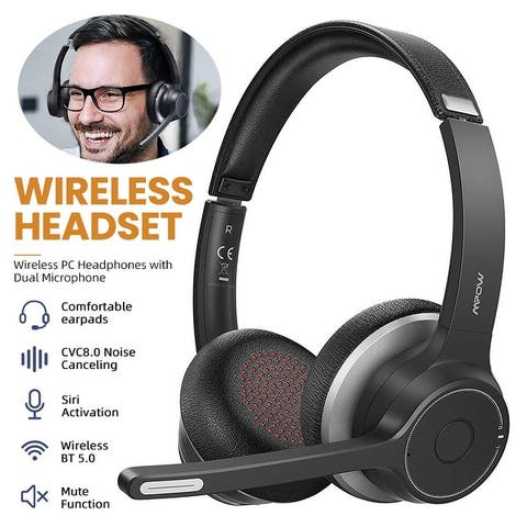 Mpow Bluetooth Headset V5.0 with Dual Microphone, CVC8.0 Noise Canceling, On-Ear for Computer, Call Center, Office, Skype