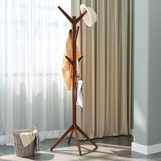 LANGRIA Bamboo Tree Coat Rack Free Standing Hat Hanger with 4 Tiers Hooks and Solid Feet