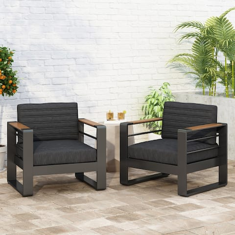 Giovanna Outdoor Aluminum Club Chairs with Water Resistant Cushions (Set of 2) by Christopher Knight Home
