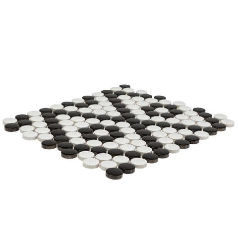 Industry Tile 10x9 Penny Round Pattern Black and White matte porcelain mosaic (20 pc/ case)