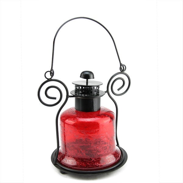 "9.25"" Decorative Distressed Red Bell Shaped Glass Tea Light Candle Holder Lantern"