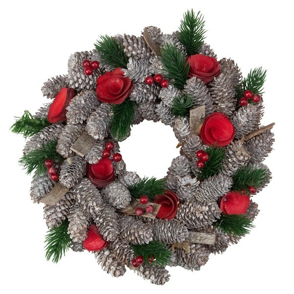 Pine Cones Berries and Flowers Artificial Christmas Wreath - 10-Inch, Unlit