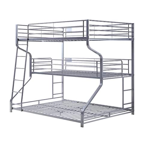 Industrial 3 Tier Bunk Bed with Curved Metal Frame and Guardrails, Silver